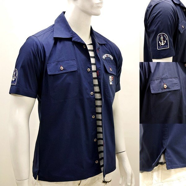 シナコバ アウトレット¥27000+税 [M] 半袖 サファリ シャツ メンズ オープンシャツタイプ CooL MAX]80118004                 scTYsm 17123510|proud|03