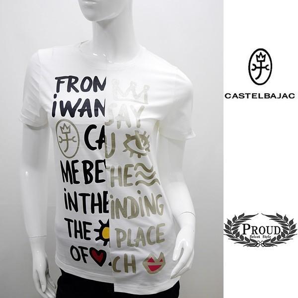 [カステルバジャックレディース特選品]¥19000+税 [11号]半袖Tシャツ フロントパネルロゴアートデザイン]80201085              jcTIsl 22770 proud