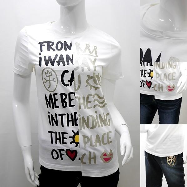 [カステルバジャックレディース特選品]¥19000+税 [11号]半袖Tシャツ フロントパネルロゴアートデザイン]80201085              jcTIsl 22770 proud 06