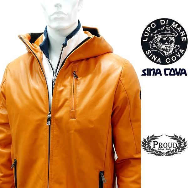 シナコバ ¥120000+税 [L]レザーブルゾン パーカー 羊革 ライトウエイトキルティング SINA COVA GENOVA] 80901001                scTIfm 18223910|proud