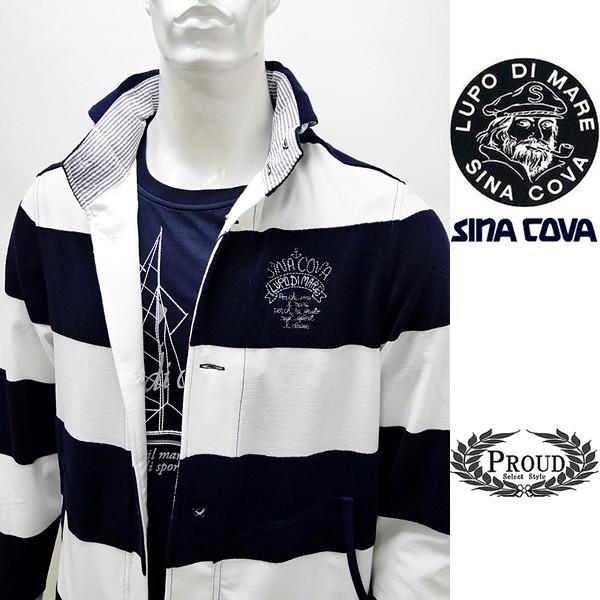 シナコバ ¥45000+税 [L] ジャケット メンズ ファブリックチェンジ マリンボーダースタイル SINACOVA SARDEGNA 90207012            scTCm 19113050|proud