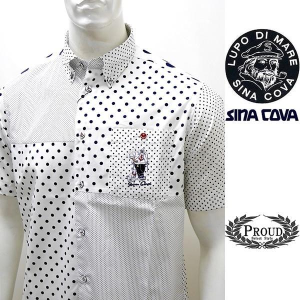 シナコバ ¥23000+税 [L]半袖 シャツ メンズ ドットパターンブロックデザイン SINACOVA GENOVA 90207085      scTCsm19124520|proud
