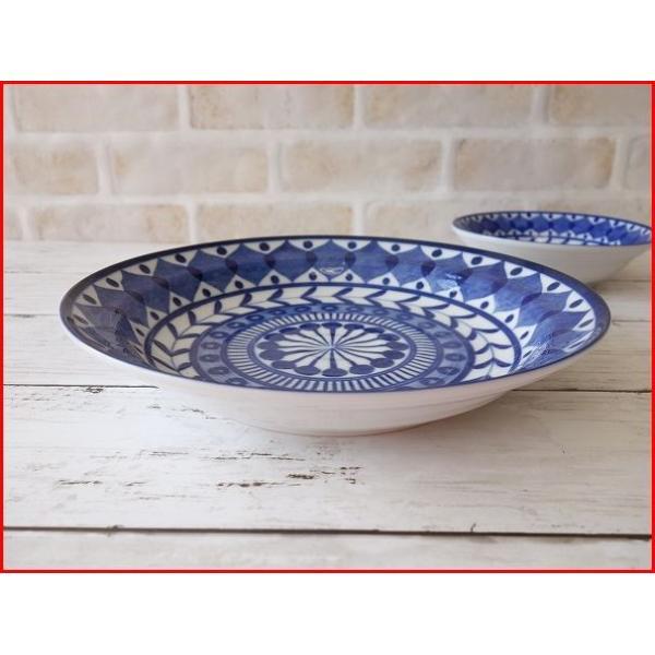ブルーアラベスク22cmビーフカレー皿   パスタ皿 カレーパスタ皿 食器 おしゃれ 美濃焼 日本製 業務用 北欧風 puchiecho