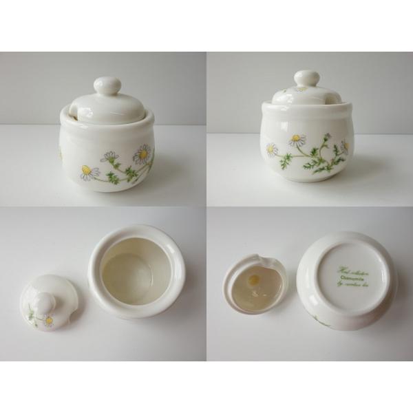 カモミールのお花のシュガーポット(カフェ食器 砂糖入れ 蓋物 陶器 シュガーディスペンサー) puchiecho 02