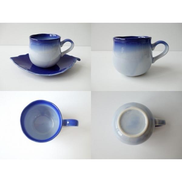 ブルーベリーのお花みたいなデミタスカップ&木の葉のソーサー\インスタ映え カップソーサーセット 陶器 おしゃれ 美濃焼  北欧風 日本製|puchiecho|05