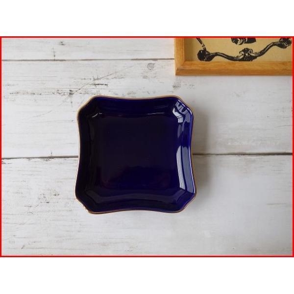 (訳あり)神々しい金と鮮やかな瑠璃色の9cm四角ミニトレー/小物入れ/アウトレット かわいい おしゃれ 小皿 豆皿  陶器 ティーパックトレイ 北欧風\|puchiecho