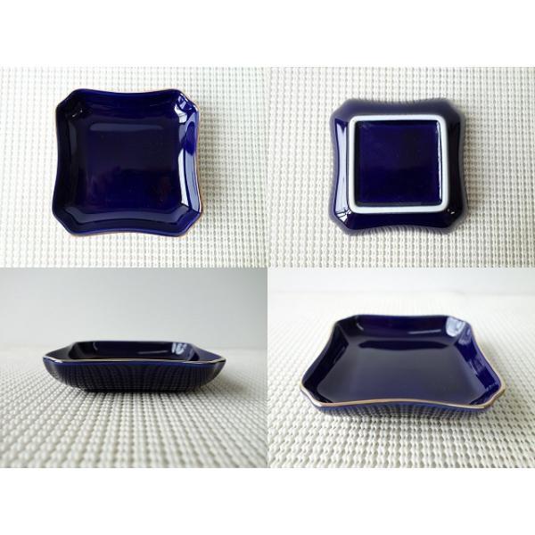 (訳あり)神々しい金と鮮やかな瑠璃色の9cm四角ミニトレー/小物入れ/アウトレット かわいい おしゃれ 小皿 豆皿  陶器 ティーパックトレイ 北欧風\|puchiecho|02