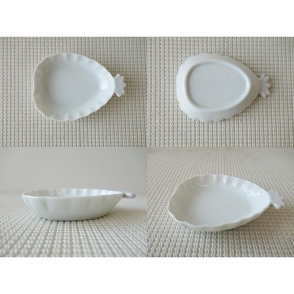 高級白磁材質!パイナップルの形をした10cmプチトレー/小物入れ/かわいい おしゃれ 小皿 豆皿  陶器 ティーパックトレイ 白い食器\|puchiecho|02