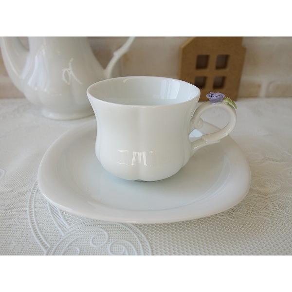 高級白磁材質ローズデココーヒーカップ&ソーサー(ブルーローズ)インスタ映え ロココ調 ティーカップ かわいい おしゃれ 日本製 バラ 薔薇 アウトレット込み|puchiecho