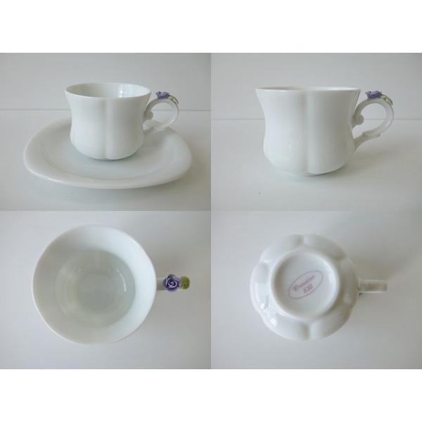 高級白磁材質ローズデココーヒーカップ&ソーサー(ブルーローズ)インスタ映え ロココ調 ティーカップ かわいい おしゃれ 日本製 バラ 薔薇 アウトレット込み|puchiecho|05