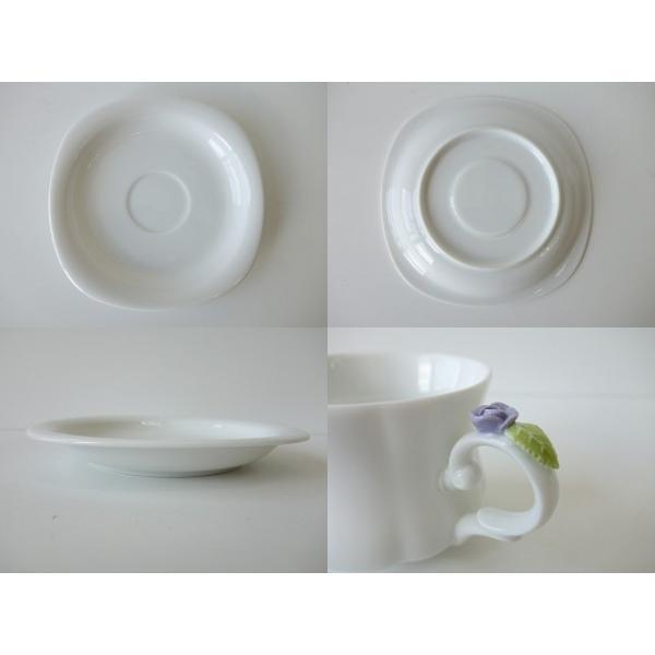 高級白磁材質ローズデココーヒーカップ&ソーサー(ブルーローズ)インスタ映え ロココ調 ティーカップ かわいい おしゃれ 日本製 バラ 薔薇 アウトレット込み|puchiecho|06