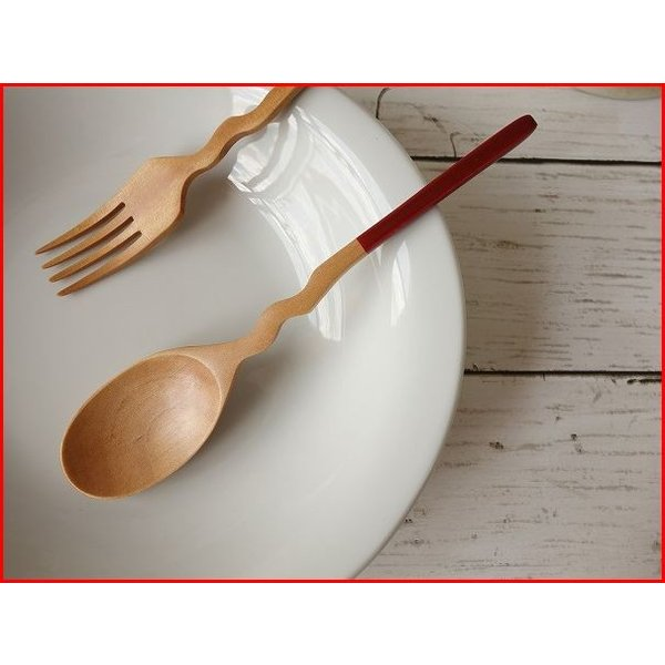 木製カトラリー20cmくねくねカレースプーン/赤/木の食器,木製食器,おすすめ,おしゃれ,通販,販売\|puchiecho