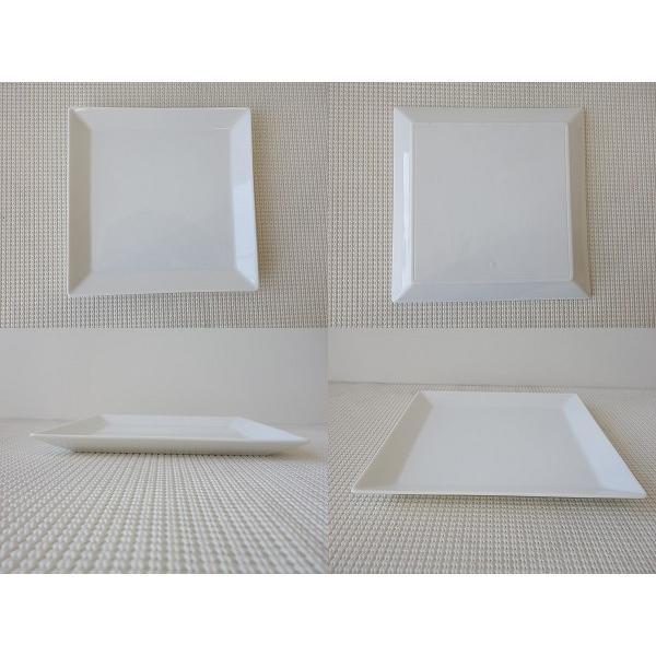 (訳あり)高級白磁材質のソリッドな19cmスクエアプレート/角皿 カフェ食器 日本製 美濃焼 おしゃれ アウトレット 白い食器 キャッシュレス5%還元|puchiecho|02