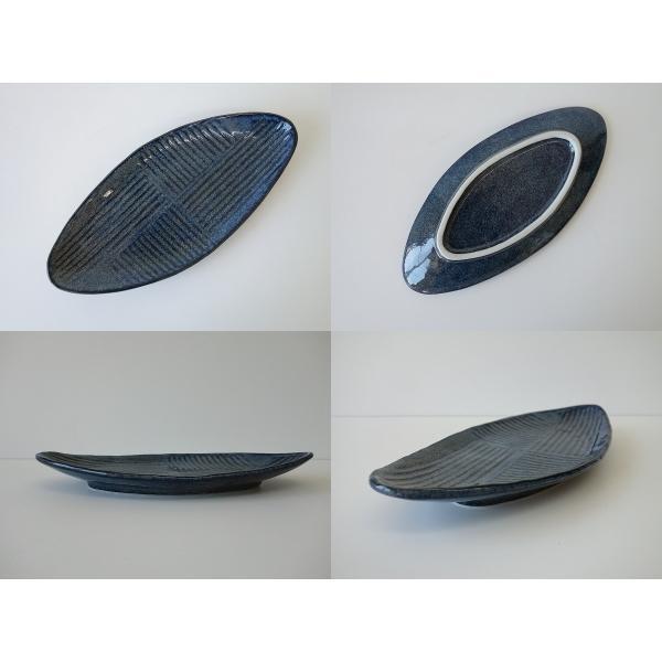 瑠璃海鼠28cm笹の葉型長皿/和食器 焼き物皿 美濃焼 和皿 焼き魚 皿 さんま皿\|puchiecho|06