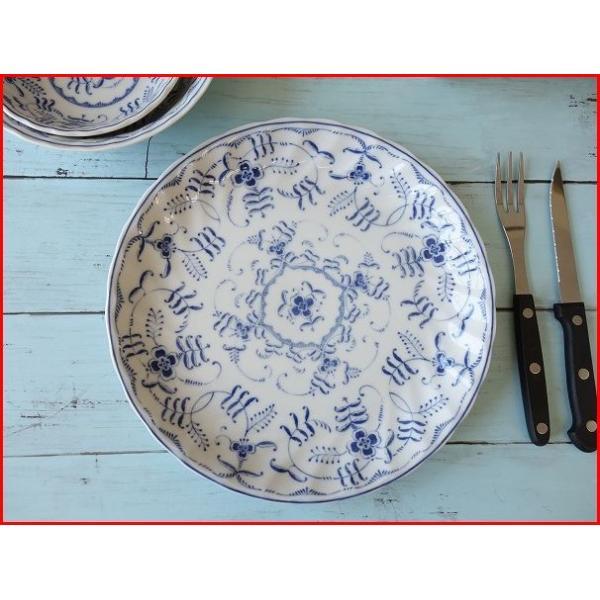 ブルーペルシアン24cmランチプレート/おしゃれ ワンプレート 大皿 食器 激安 白 北欧風\|puchiecho