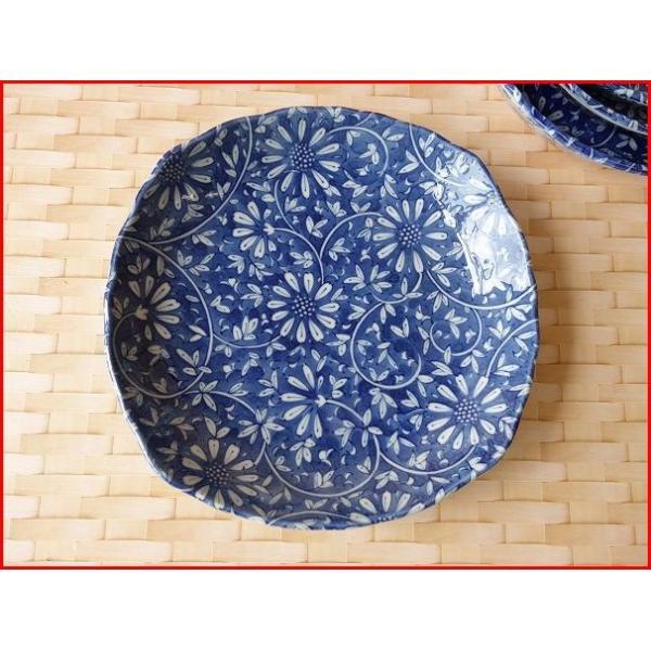 藍染花唐草21cmミニカレー皿  パスタ皿 カレーパスタ皿 和食器 和皿 おしゃれ 美濃焼 日本製 業務用 puchiecho