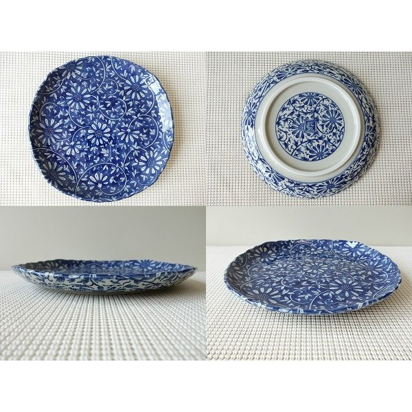 藍染花唐草23cm和風ランチ皿/和食器 おしゃれ ワンプレート 食器 激安 大皿 ランチプレート\|puchiecho|02