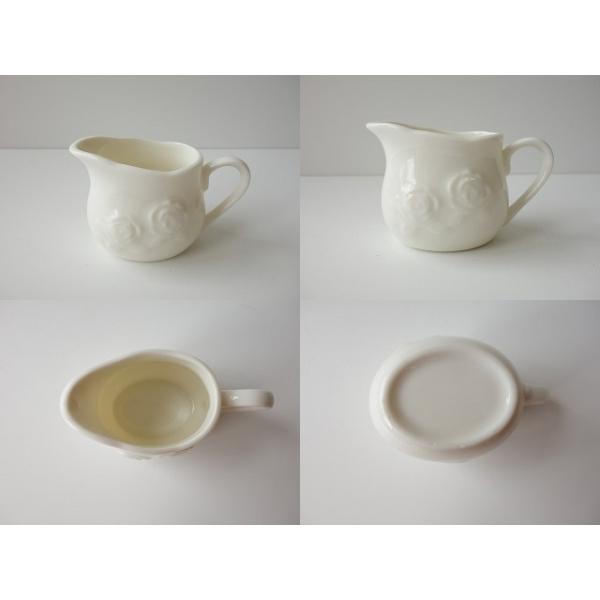適量70cc(3人用)おしゃれなバラの彫刻のミルククリーマー(小)ミルクポット ミルクピッチャー 陶器 通販 ソースポット ソース入れ キャッシュレス5%還元|puchiecho|02