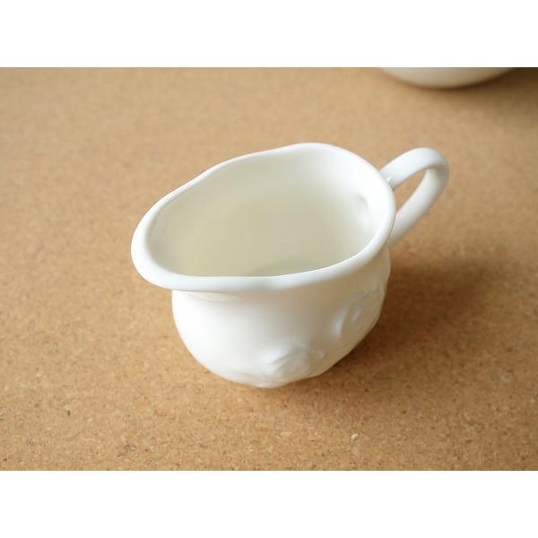 適量70cc(3人用)おしゃれなバラの彫刻のミルククリーマー(小)ミルクポット ミルクピッチャー 陶器 通販 ソースポット ソース入れ キャッシュレス5%還元|puchiecho|03