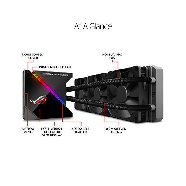 ASUS オールインワン型水冷 ユニット CPUクーラー ROG RYUJIN 360 / color OLED/Aura Sync RGB/120m|puchiplus|02