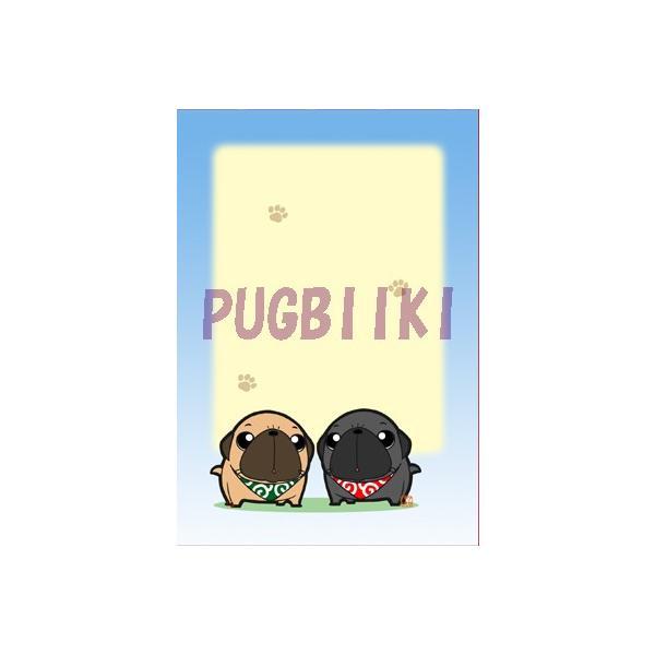 【翌日発送】ミニメモ帳 クロス巻き40枚つづり 見上げる2匹のパグ|pugbiiki|03
