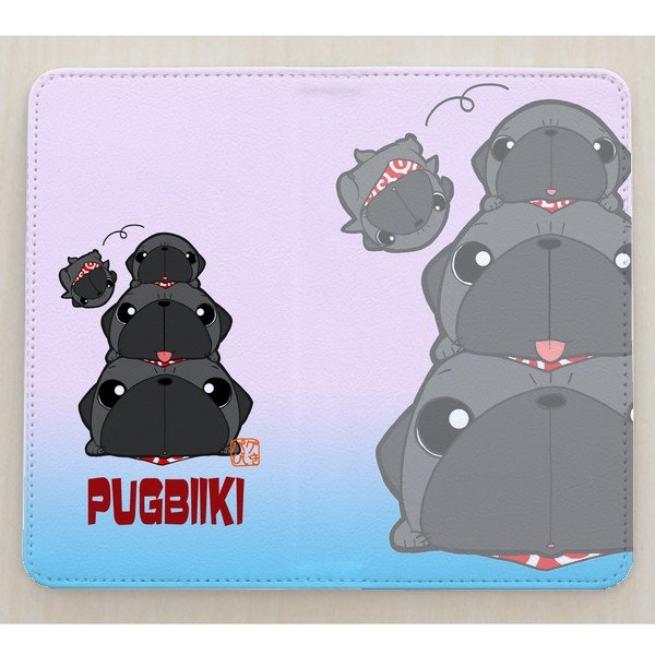 手帳型ケース ベルト無し iphone/Androidケース 黒パグピラミッド(ぱぐ グッズ)|pugbiiki