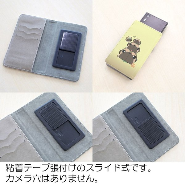 手帳型ケース ベルト無し iphone/Androidケース 黒パグピラミッド(ぱぐ グッズ)|pugbiiki|11