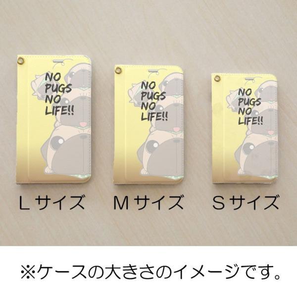 手帳型ケース ベルト無し iphone/Androidケース 黒パグピラミッド(ぱぐ グッズ)|pugbiiki|12