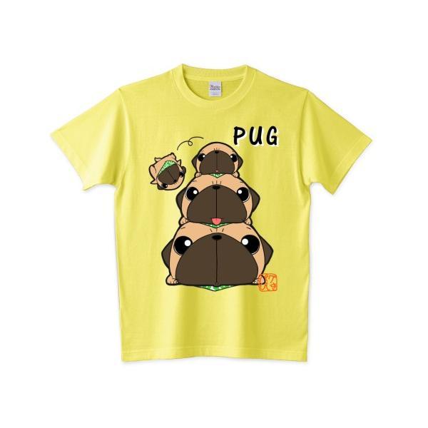 色・サイズ豊富! パグピラミッド(フォーン)5.6オンスTシャツ(ぱぐ グッズ)|pugbiiki