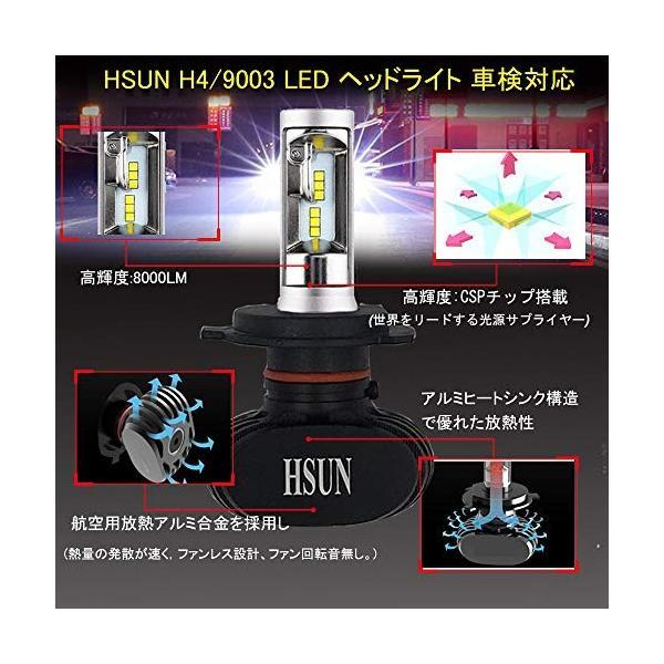 HSUN 車用 H4 9003 LED ヘッドライト バルブ,hi/lo車検対応,DC9V-32V車用 50W(25Wx2) 8000LM(4000L|pumpkintetsuko83|04