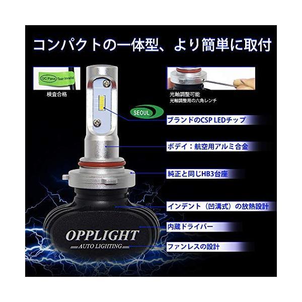 OPPLIGHT LEDヘッドライト HB3 車検対応 ホワイト ファンレス hb3 led ハイビーム 高輝度 4000LM 30W 6500K 一 pumpkintetsuko83 03