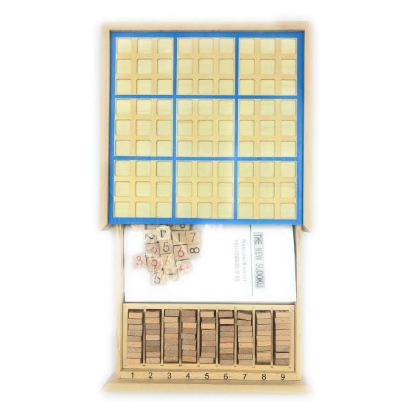 【AOBAX48】 知育玩具 パズル 木製 ナンプレ (数独) ナンバープレース 数字 活脳 脳トレ ボードゲーム 卓上 9ブロック (ブルー)