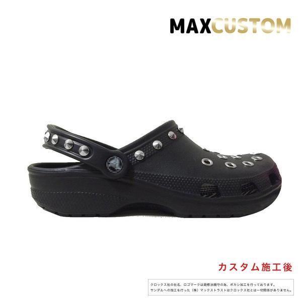 クロックス パンク カスタム クラシック(ケイマン)黒 ブラック crocs custom サンダル メンズ レディース|punkcrocs|02