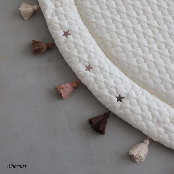 サニーマット ベビー タッセル ラグマット フリンジ ごろ寝アート 寝相アート よちよちマット プレイマット ベビーマット 円形 puppapupo 06