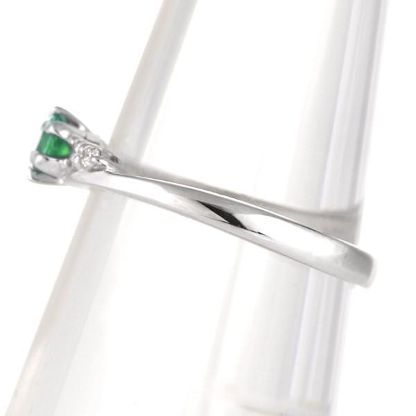 エンゲージリング 婚約指輪 エメラルド ダイヤモンド リング 10金ホワイトゴールド