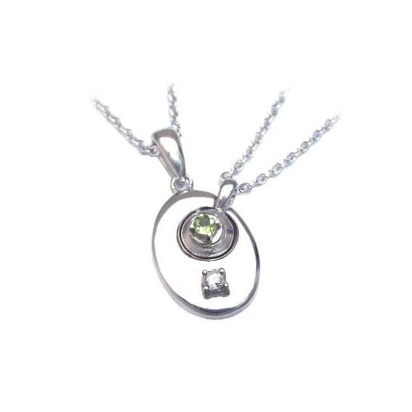 ペアネックレス 4月 8月誕生石シルバー ダイヤモンド ペリドットペアペンダント ネックレス 安い