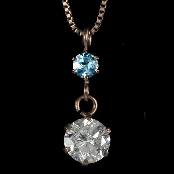 ペンダント ダイヤモンド ネックレス ゴールド 18金 ダイヤモンド ペンダント ダイヤモンド ダイヤ 0.3カラット レディース ブルートパーズ 誕生日プレゼント