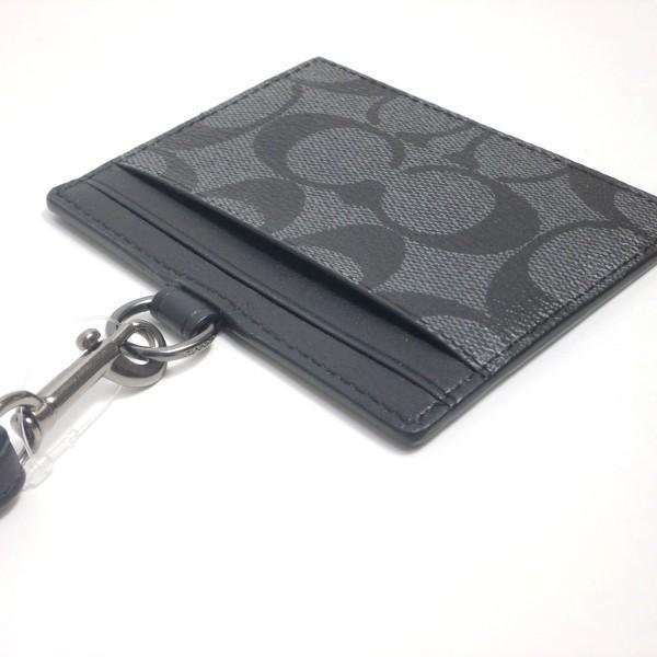 コーチ COACH カードケース 小物 アウトレット シグネチャー ID ランヤード カード ケース F64063 CQ/BK チャコールxブラック purely 03