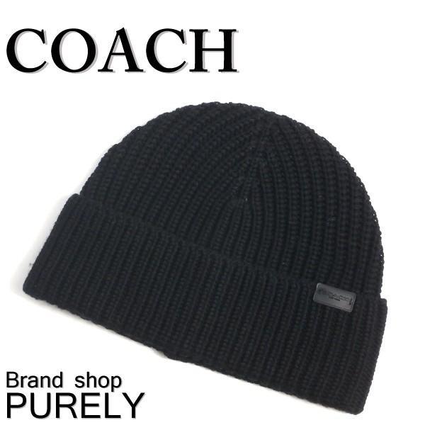 COACH コーチ 帽子 メンズ アウトレット リブ ニット ハット F85140 BLK ブラック|purely