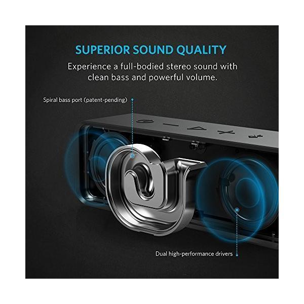 Anker SoundCore ポータブル Bluetooth 4.0 スピーカー (ブラック) 24時間連続再生可能 【デュアルドライバー ワイヤレススピーカー 内蔵マイク搭載】 A3102011|puremiamuserekuto-2|02