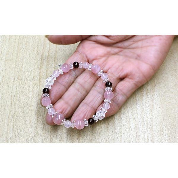 マダガスカル産ローズクォーツ ディープカラー ガーネット ブレスレット 天然石 パワーストーン ブレスレット ブレス