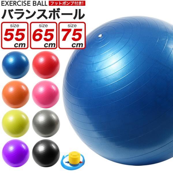 バランスボール 55cm 65cm 75cm フットポンプ付き 空気入れ 耐荷重250kg ノンバースト|purerise
