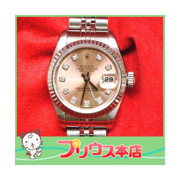 【OH済】ROLEX ロレックス デイトジャスト 10Pダイヤ レディース腕時計 69174G 機械式自動巻 ピンク 6746 purishonten