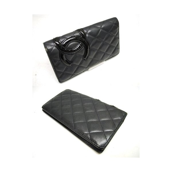 CHANEL シャネル カンボン 二つ折り長財布 レディース ブラック レザー ココマーク 6801|purishonten|02
