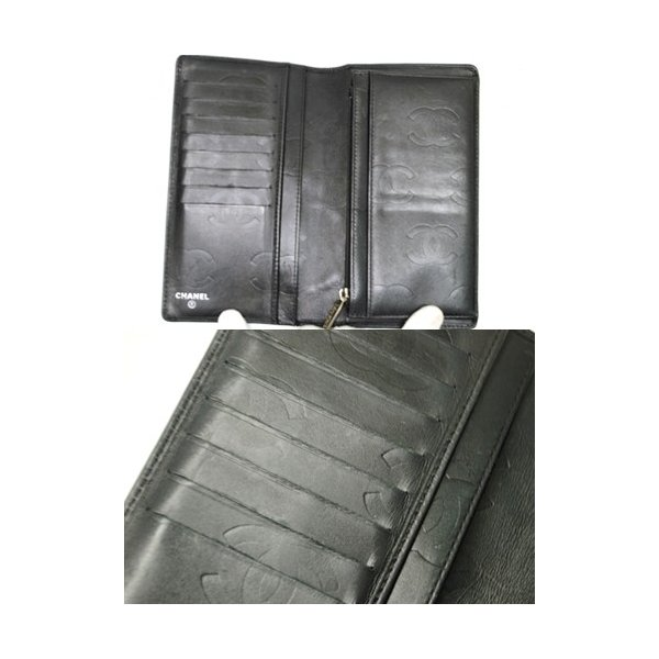 CHANEL シャネル カンボン 二つ折り長財布 レディース ブラック レザー ココマーク 6801|purishonten|03
