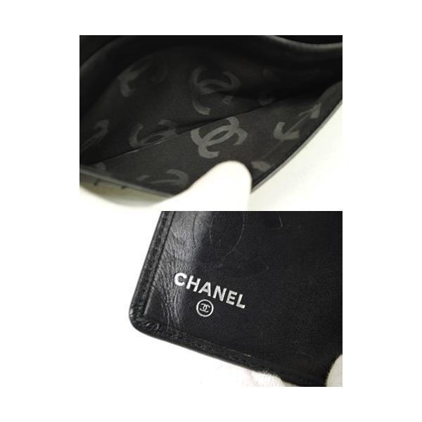 CHANEL シャネル カンボン 二つ折り長財布 レディース ブラック レザー ココマーク 6801|purishonten|05