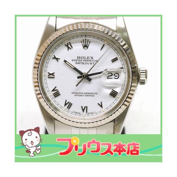 【OH済】ROLEX ロレックス デイトジャスト メンズ腕時計 機械式自動巻き 16014 SS/WG ホワイト 6818|purishonten
