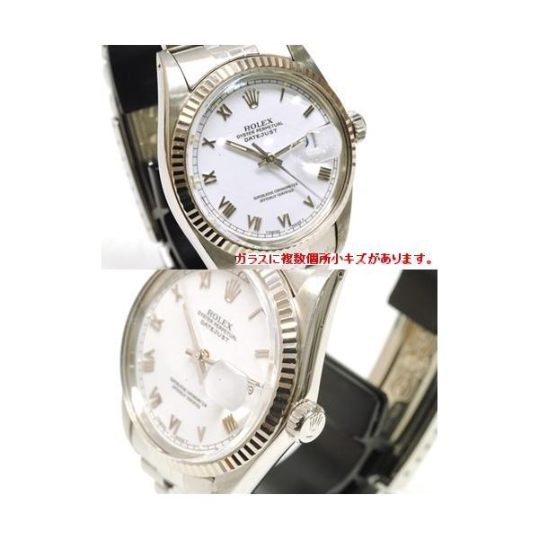 【OH済】ROLEX ロレックス デイトジャスト メンズ腕時計 機械式自動巻き 16014 SS/WG ホワイト 6818|purishonten|02