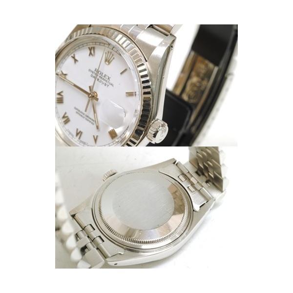 【OH済】ROLEX ロレックス デイトジャスト メンズ腕時計 機械式自動巻き 16014 SS/WG ホワイト 6818|purishonten|03