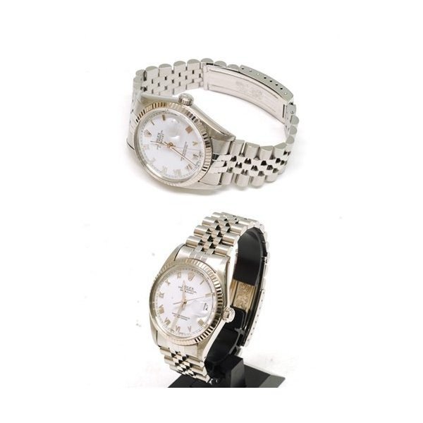 【OH済】ROLEX ロレックス デイトジャスト メンズ腕時計 機械式自動巻き 16014 SS/WG ホワイト 6818|purishonten|07
